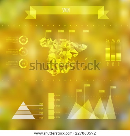 Abstract Spain Map with Infographic Elements on Blurred Background - Vector Illustration - Webdesign Template - stock vector