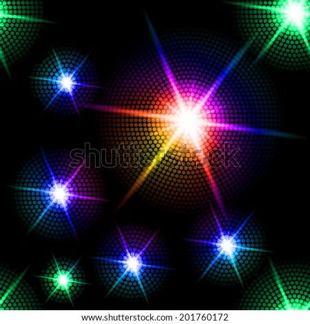 Abstract sparkling background with multicolored starburst in the dark - stock vector