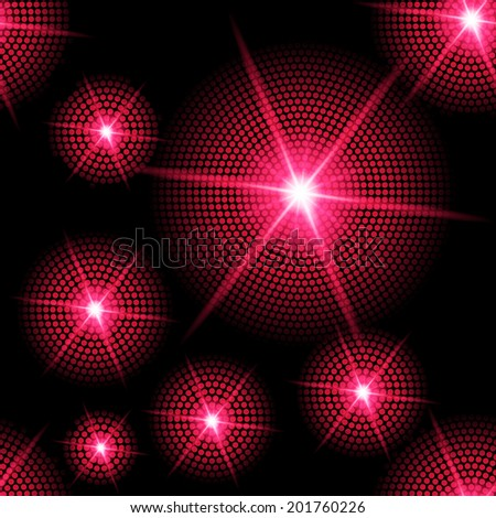 Abstract sparkling background with red starburst in the dark - stock vector