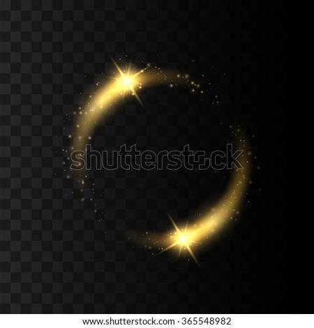 Abstract sparkling golden frame light effect on transparent background. Vector Eps10 - stock vector
