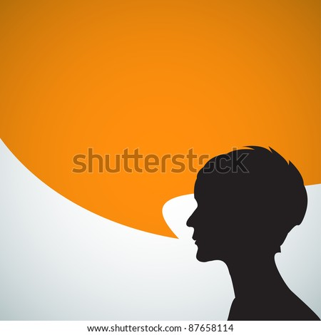 Abstract speaker silhouette with big orange bubble - place for your content - stock vector