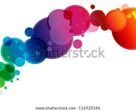 Abstract Spectrum Circle Background - Abstract background of circles in spectrum colors and bokeh transparency - stock vector