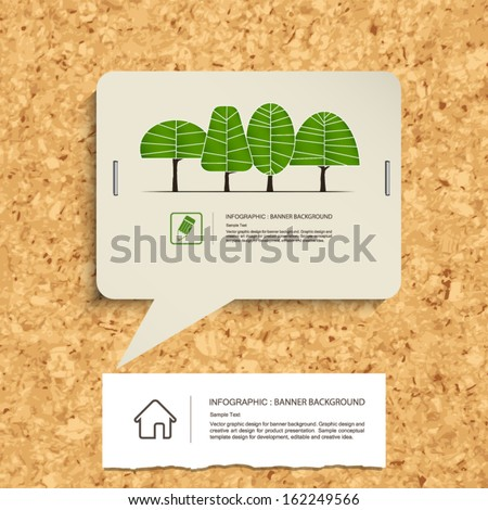 Abstract speech bubble of vintage paper with paper banner background on cork board texture background - Vector illustration - stock vector