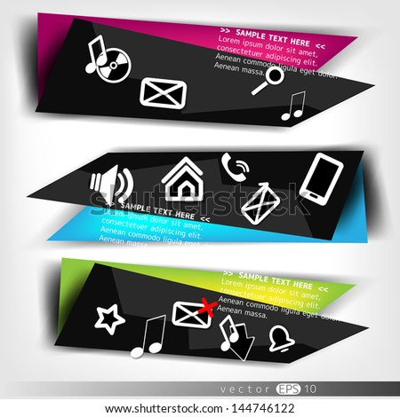 Abstract speech bubble with web icons - stock vector