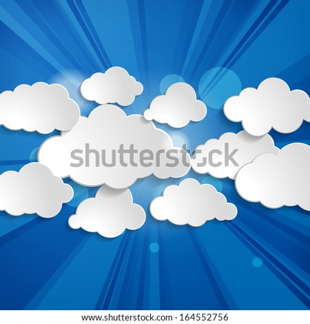 Abstract speech bubbles in the shape of clouds with rays on a blue background