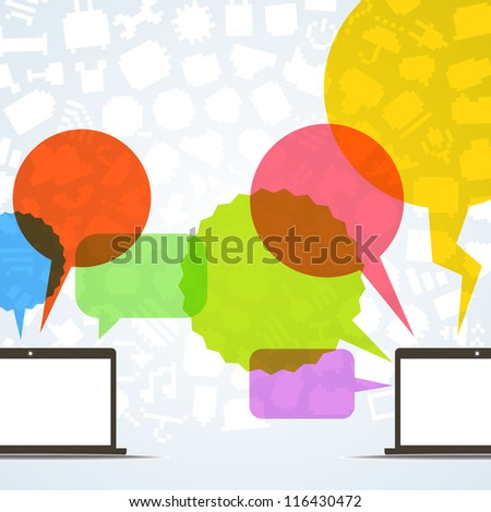 Abstract speech clouds and two connected computers - stock vector