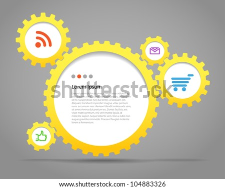 Abstract speech clouds of gear wheels with media icons. Template for a text - stock vector