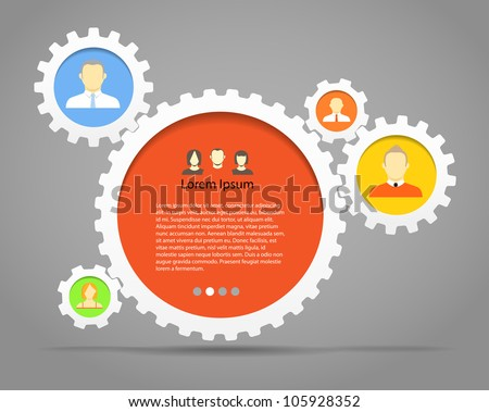 Abstract speech clouds of gear wheels with person icons. Template for a text - stock vector