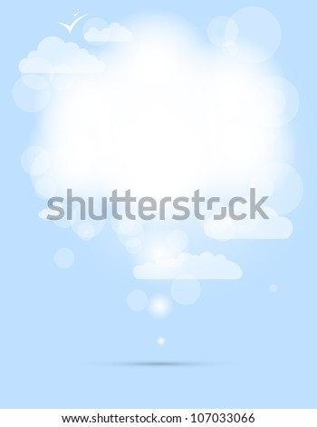 abstract speech white shining cloud vector background - stock vector