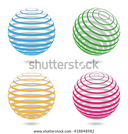 Abstract sphere. 3d lines balls. Business logo elements. Vector template for background