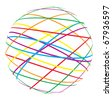 abstract sphere from color lines - stock vector