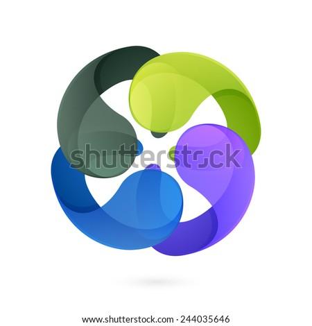 Abstract sphere logo. infinite rotation - stock vector