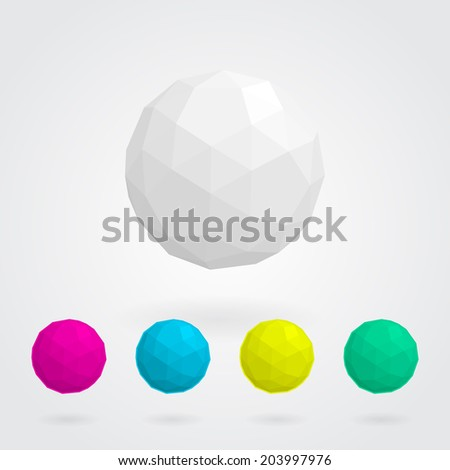 Abstract  sphere made of geometric shapes (set of white,purple,blue,yellow and green) - stock vector