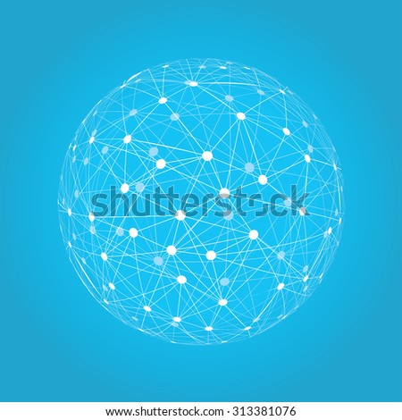 Abstract sphere vector illustration on blue background  - stock vector