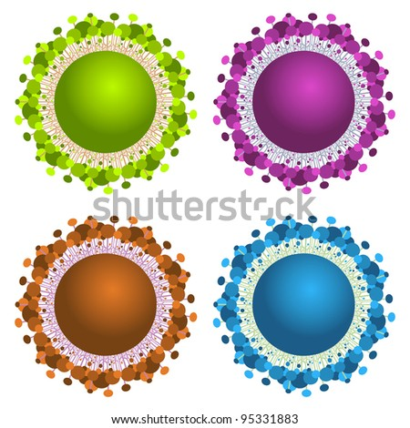 abstract spheres with trees - stock vector