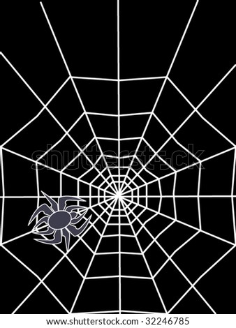 abstract spider with white cobweb on black background