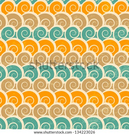 abstract spiral beach seamless pattern with grunge effect - stock vector