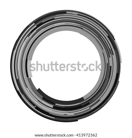 Abstract spiral element. Swirl, twirl, rotating shape. Black and white vector illustration background.