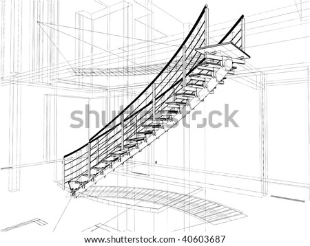 Stairs blueprint on contemporary houses front view