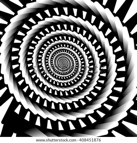 Abstract spiral, vortex graphic. Inward spiral. Artistic monochrome image. - stock vector