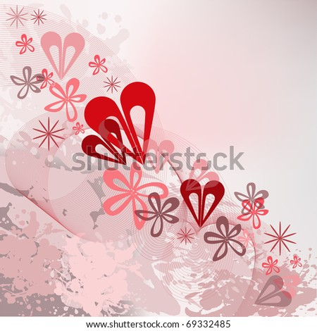 abstract splattered background with a diagonal ornamentation of flowers and hearts