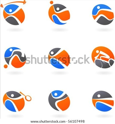Abstract sport icons and backgrounds - stock vector