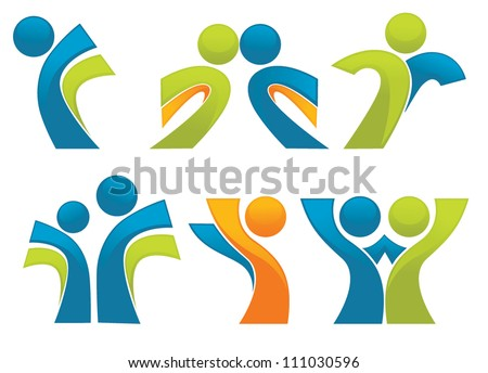 abstract sportive people symbols, vector collection - stock vector