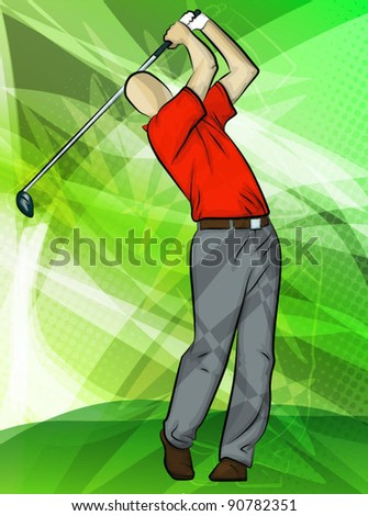 Abstract sports background/Golfer Swing/golfer swinging a driver - stock vector