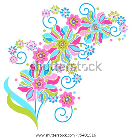abstract sprig with flowering flowers on a white background - stock vector