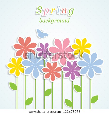 Abstract spring background with colorful flowers. Vector  illustration.