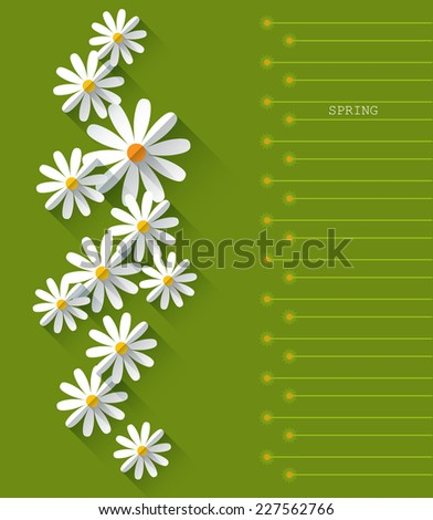 Abstract spring background with paper flowers. Flat design style on green background with space for design - stock vector
