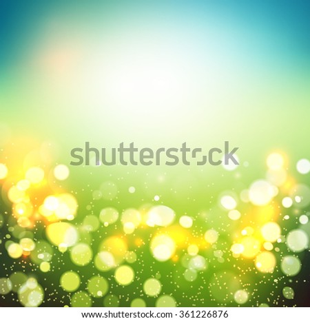 Abstract spring defocused background. Green bokeh. Summer blurred meadow. Vector illustration. Spring  poster. Light spring. Spring sky. Spring bokeh. Light spring bokeh. Blurred spring bokeh