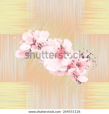 Abstract spring flowers on grunge striped background in seamless composition - stock vector