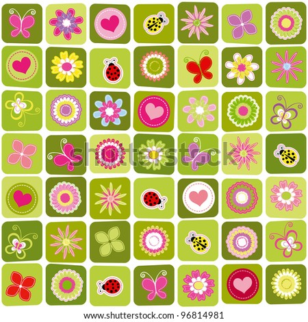 Abstract springtime colorful seamless pattern background - stock vector