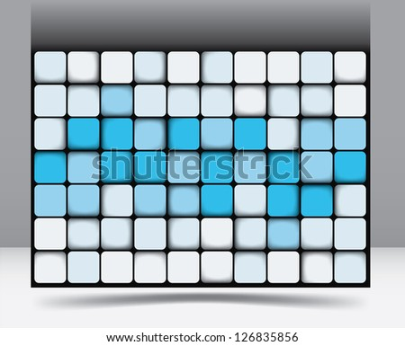 Abstract square background pattern with random shadings in blue graduating through to white of equilateral squares with rounded corners