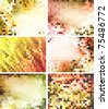 abstract square pixel mosaic backgrounds set - stock vector