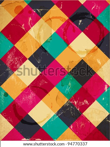 Abstract squary colorful retro background - stock vector