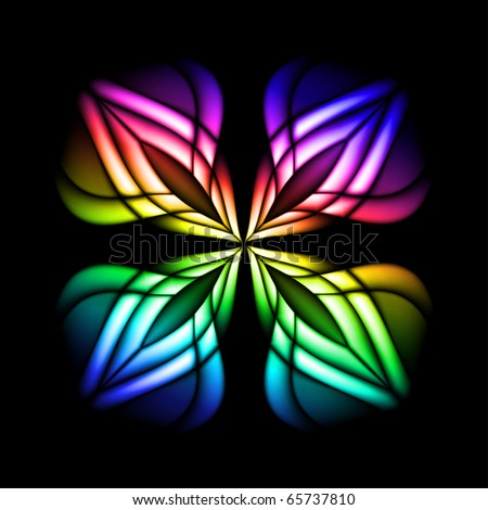 Abstract stain glass flower pattern. Vector illustration #3 - stock vector