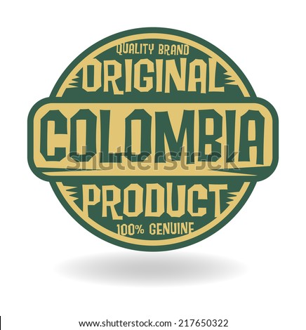 Abstract stamp with text Original Product of Colombia, vector illustration