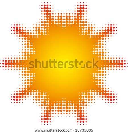 abstract star (halftone design element set) - stock vector