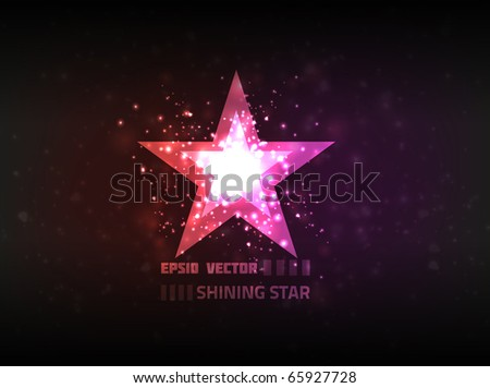 Abstract star shining brightly on purple background. - stock vector