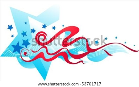 Abstract stars and stripes banner - stock vector