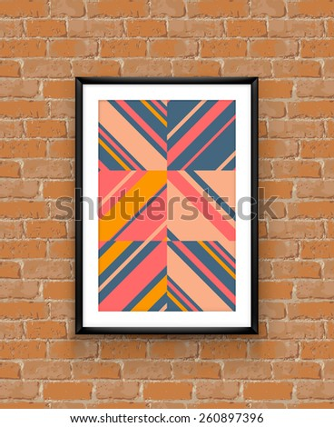 Abstract striped geometric boho chic poster frame on brick wall - stock vector