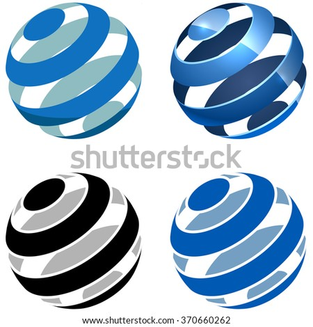 Abstract striped sphere vector sign isolated on white background. - stock vector