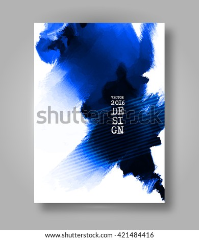 Abstract stylish Brochure blue ink paint. Blue blot isolated on white background. Grunge watercolor banner. Painting. Wallpaper with empty space for your text. Vector illustration. - stock vector