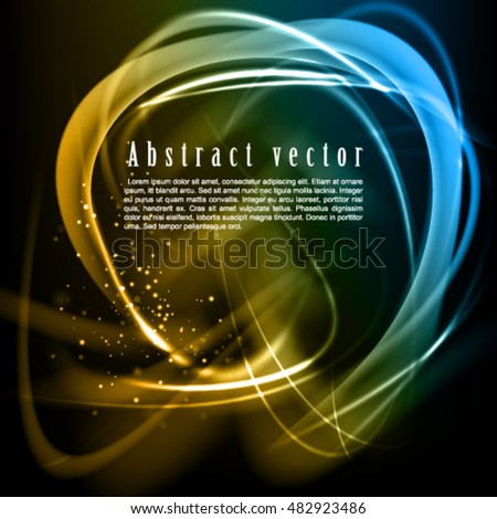 Abstract stylish dark vector background. Shine vector frame with sparkle lines