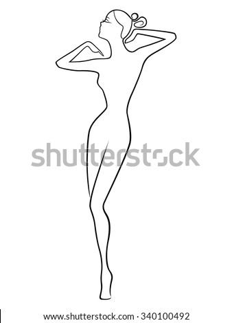 Abstract stylish dreamy women posing with raised hands, vector outline - stock vector