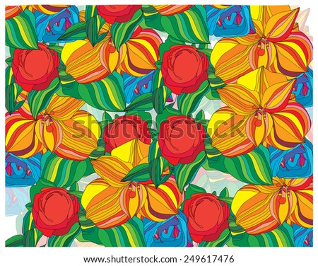 abstract stylized backdrop is filled with colorful flowers - stock vector