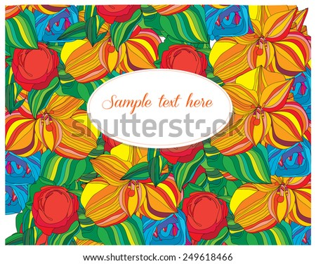 abstract stylized backdrop is filled with colorful flowers and text - stock vector