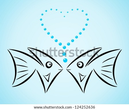 Abstract stylized fishes in love - stock vector